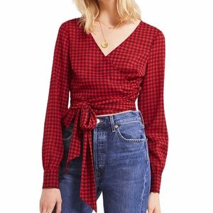 NWT Urban Outfitters Red Crop Gingham Wrap Blouse